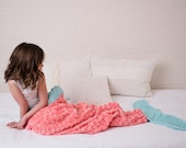 Coral Aqua Mermaid Tail - Mermaid Sleep Sack- Minky Mermaid Blanket- Mermaid Blanket- Girls Bedding- Child Sleep Sack- Ships out in 1-2 Days