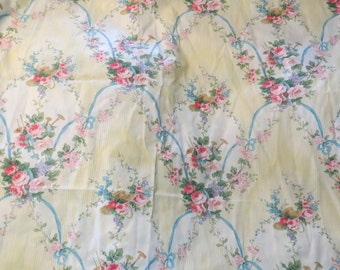 Vintage Fabric-Sailcloth-1990's-Fancy Floral Filigree Scroll-3 yards