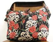 SKULL BAG - Goth Bag - Skull and Roses - Hobo Bag - Oversized Bag - Hippie Bag - Large Bag - Skull Purse - Slouch Bag - Across Body Bag