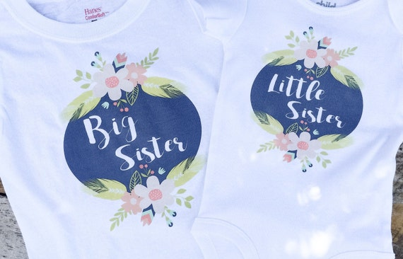 NEW Big Sister Little Sister Floral Onesies® and Shirt, Baby Girl Onesie, Toddler Shirt, Graphic Girl Onesie, Matching Clothes, Siblings