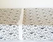 Black White Bedding - Fitted Crib Sheet / Changing Pad Covers / Mini Crib Sheets / Woodland Baby Bedding / Alma Mini Sheet / Neutral Nursery