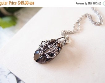 CLEAROUT SALE 40% OFF Nymphs No.3 --- Swarovski black diamond Crystal Helios Pendant ,aged sterling silver brass victorian necklace