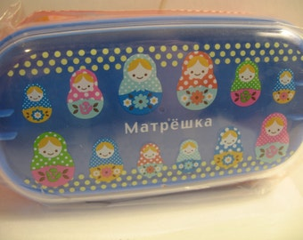 kawaii bento box lunch box storage so very cute matryoshka dolls red blue 2 tier super kawaii food craft supplies