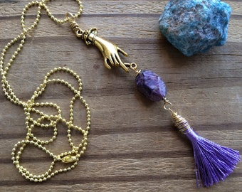 Charoite necklace,  Hand and purple tassel necklace, tassel jewelry