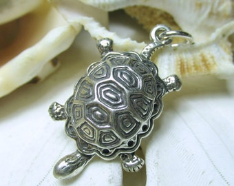 Sterling Silver 3D Turtle or Tortoise Charm Pendant 3.24g