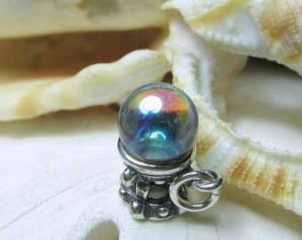 Sterling Silver Crystal Ball 3D Charm Halloween 2.47g