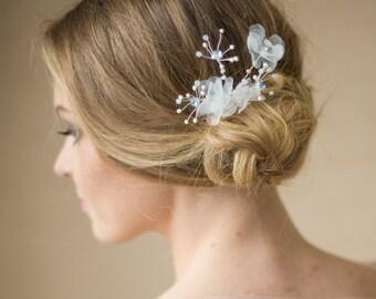 Wedding hair flower Wedding Bridal headpiece Flower Hair piece something blue Wedding headpiece Bridal hair flower Bridal headpiece