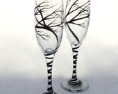 Wedding Toasting Flutes with tree design, champagne glasses, hand painted branches, personalized in calligraphy