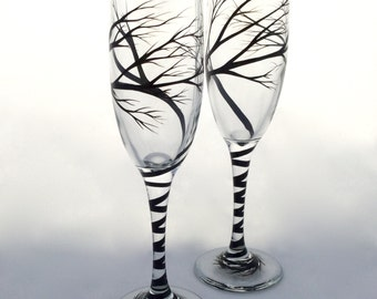 Tree Wedding Toasting Flutes, champagne glasses, hand painted branches, personalized in calligraphy
