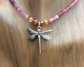 Pink Tourmaline Dragonfly Necklace,Gemstone Beaded Necklace,Sterling Silver Dragonfly,Yoga,Chakra Necklace,Birthstone Necklace