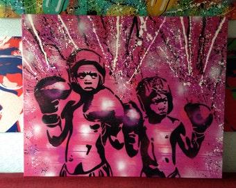 Boxers guard ya grill painting,pink,black,custom,stencils,urban art,graffiti art,canvas,boxing,design,home,living,wall art,custom,kids,sport