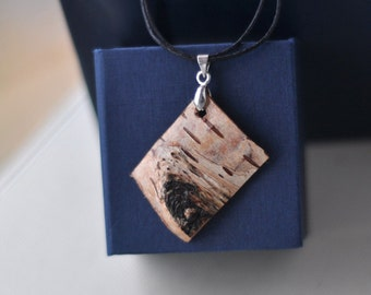 natural birch bark necklace
