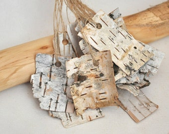 Rustic Birch bark gift tags  • set of 12