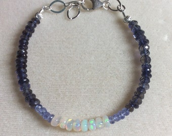 Tanzanite, Iolite, and fiery Welo Opal with .925 silver