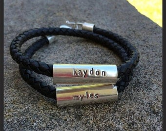 "Men's Latigo and Sterling Silver ""Tube"" Double Wrap Bracelet - Extra Thick, 8mm leather"
