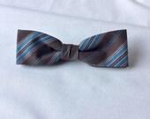 Skinny Mens Bow tie Brown Blue Striped Clip-On Pre Tied Cotton Groomsmen Groom Adult Men Teen Boy Baby Kid Party Gift Wedding Birthday Gift