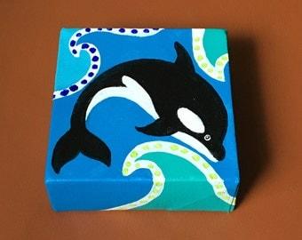 Orca Miniature Painting, Daily Doodle, 7/2/16 4x4 Miniature acrylic canvas art