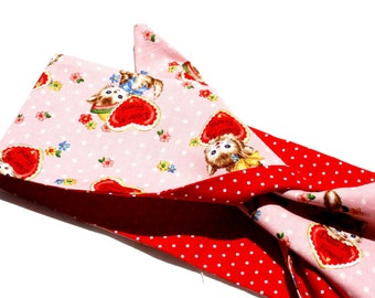 Vintage Inspired Kitten Headscarf, Reversible, Red Polka Dots, Retro, Rockabilly