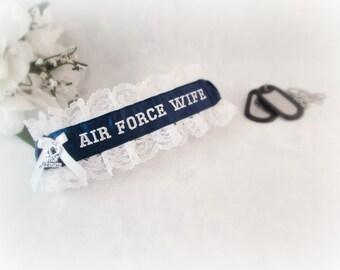 Air Force Wedding Garter   - Military Garter  - Air Force Wife Garter - Something Blue.