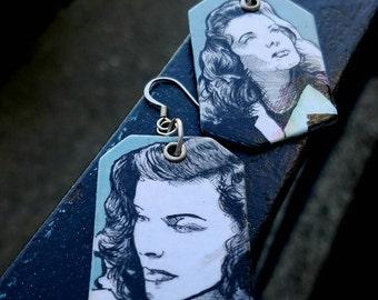 Katharine Hepburn Movie Star Icon hand-painted earrings - old hollywood