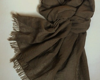 Brown linen scarf washed frayed lightweight unisex scarf brown men's scarf long soft women's shawl
