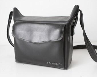 vintage POLAROID black leather CAMERA CASE camera bag