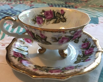 Vintage Tea Cup Set 2 Pieces Pink Roses Pearlized Napco Made in Japan #3806