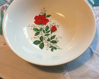 Vintage Red Rose Soup or Salad Bowl #3816