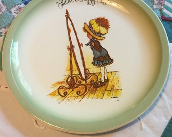 Vintage Holly Hobbie Put On A Happy Face Decorative Plate made in The USA