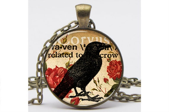 Raven Collage Silver Plated Necklace with Chain Altered Art Pendant Resin Pendant Photo Pendant Picture Pendant Art Pendant