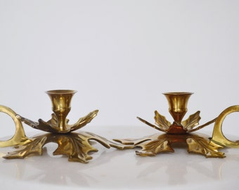 Vintage Brass Fall Leaves Candle Holders (Set of Two)