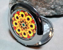 Sunflower Compact Mirror Pocket Mirror Boho Chic Mandala New Age Sacred Geometry New Age Hippie Kaleidoscope Bohemian Bliss
