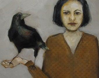 Abstract Art Figure Figurative Portrait Giclee Print Colette Davis Crow Blackbird BIRD WATCHING