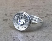 Bullet Ring, Sterling Silver Ring, Winchester 45 Auto Bullet Casing Ring, Adjustable size 6 to 9, Great Gift Item - 4500