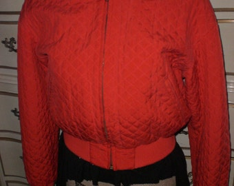 Quilted bomber jacket, Red,Silk,Saks Fifth Avenue, Small Petite, Made in Hong Kong