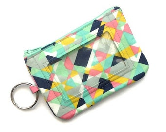Id Keychain Wallet- Geometric-Coin Purse-Pastels