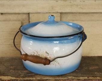 SALE- Antique French Farmhouse Enamelware, Blue and White Enamelware Lidded Pail, Turned Wood Handle, Vintage Kitchen Storage,