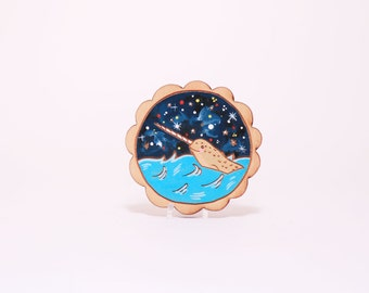 Starry night narwhal hand painted wooden brooch