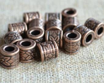 20pcs Metal Bead Antiqued Copper 8x8mm Tube Cylinder 3mm Hole