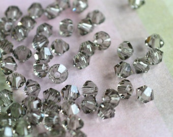 144pcs Swarovski Bicone Crystal Bead Black Diamond Faceted Austrian Crystal 3mm Xilion Model 5328