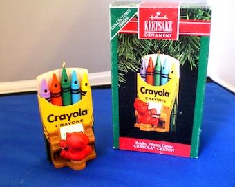 "Vintage 1991 Hallmark ""Bright, Vibrant Carols"" Crayola Ornament"