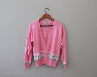 Vintage 90s Pink V Neck Knit Cardigan by Picket and Post