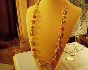 "Vintage Yellow Gold Tone 39"" Dangling Glass Metal Beads Charm Necklace Grape Clusters 8660"