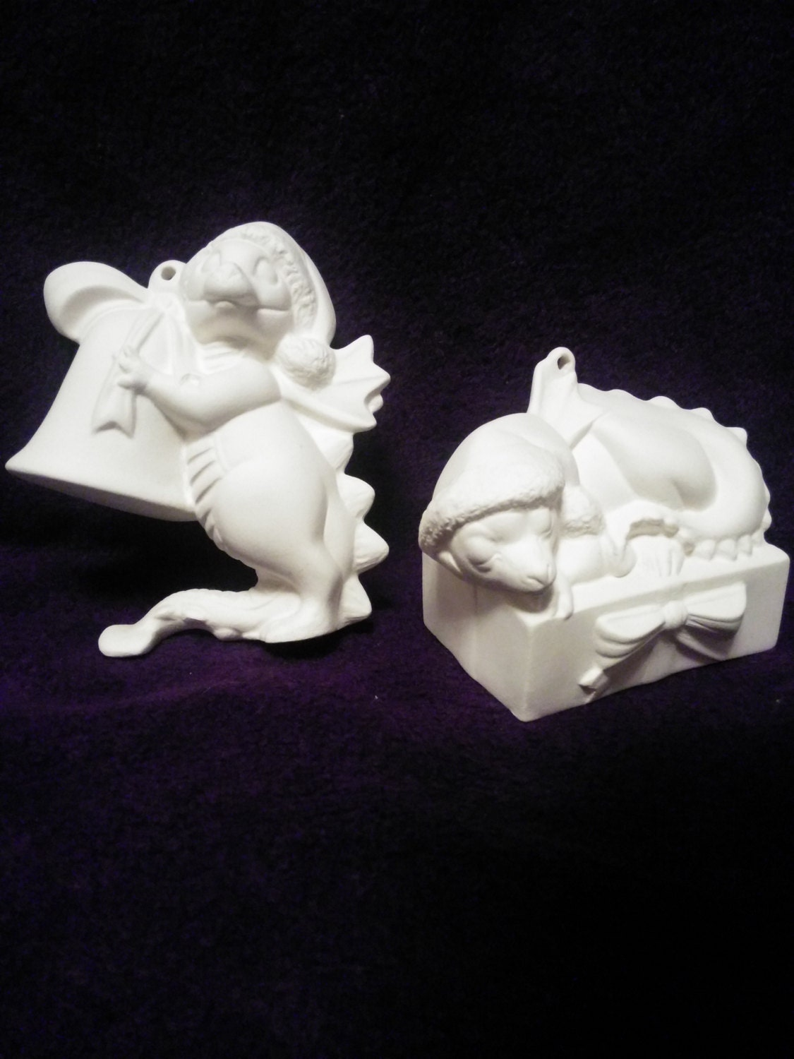 Dragon ornaments set of two ceramic bisque paint it yourself for Diy ceramic painting
