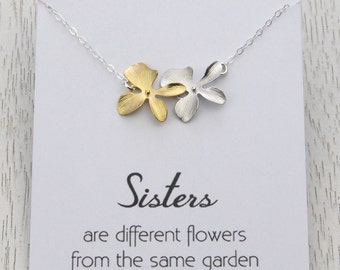 Personalized Sisters Flower Necklace, Sister's Birthday, Wedding Gift for Sisters, Bridal Orchid Flower Necklace for Sisters, Wedding Gift