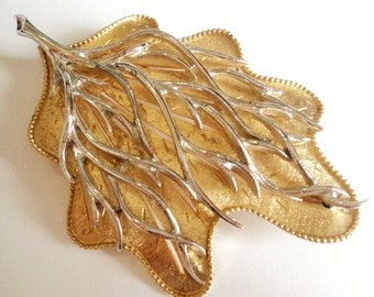 1960s Signed Coro Brooch... Gold and Silver Leaf... Large