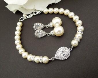 Bridal Jewelry Set, Pearl Bridal Earrings, Wedding Bracelet, Swarovski Pearl Earrings, Swarovski Pearl Bridal Jewelry, Jewelry set, AUDREY