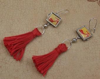 Orange Tassel Earrings, Women's Shoes, Long