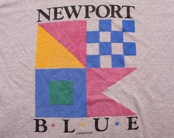 1987 Newport Blue T-Shirt, Nautical Flags Design Fashion, Vintage 80s