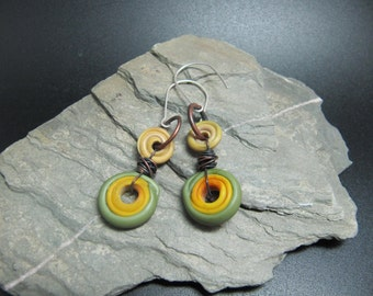 Lampwork and Sterling Silver Earrings - Mustard and Lichen